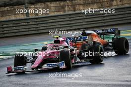 Lance Stroll (CDN) Racing Point F1 Team RP20 and Carlos Sainz Jr (ESP) McLaren MCL35 battle for position. 15.11.2020. Formula 1 World Championship, Rd 14, Turkish Grand Prix, Istanbul, Turkey, Race Day.
