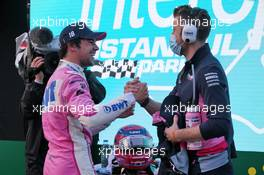 Lance Stroll (CDN) Racing Point F1 Team celebrates his pole position in qualifying parc ferme. 14.11.2020. Formula 1 World Championship, Rd 14, Turkish Grand Prix, Istanbul, Turkey, Qualifying Day.