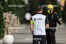 Esteban Ocon (FRA) Renault F1 Team with Alan Permane (GBR) Renault F1 Team Trackside Operations Director. 12.11.2020. Formula 1 World Championship, Rd 14, Turkish Grand Prix, Istanbul, Turkey, Preparation Day.
