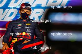 Max Verstappen (NLD) Red Bull Racing in the post race FIA Press Conference. 13.12.2020. Formula 1 World Championship, Rd 17, Abu Dhabi Grand Prix, Yas Marina Circuit, Abu Dhabi, Race Day.