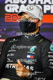 Valtteri Bottas (FIN) Mercedes AMG F1 in the post race FIA Press Conference. 13.12.2020. Formula 1 World Championship, Rd 17, Abu Dhabi Grand Prix, Yas Marina Circuit, Abu Dhabi, Race Day.