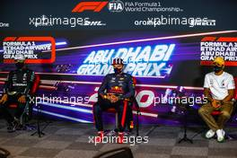 The post race FIA Press Conference (L to R): Valtteri Bottas (FIN) Mercedes AMG F1, second; Max Verstappen (NLD) Red Bull Racing, race winner; Lewis Hamilton (GBR) Mercedes AMG F1, third. 13.12.2020. Formula 1 World Championship, Rd 17, Abu Dhabi Grand Prix, Yas Marina Circuit, Abu Dhabi, Race Day.