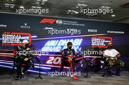 (L to R): Valtteri Bottas (FIN) Mercedes AMG F1, Max Verstappen (NLD) Red Bull Racing, and Lewis Hamilton (GBR) Mercedes AMG F1 in the post qualifying FIA Press Conference. 12.12.2020. Formula 1 World Championship, Rd 17, Abu Dhabi Grand Prix, Yas Marina Circuit, Abu Dhabi, Qualifying Day.