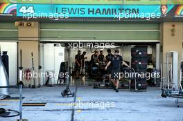 Pit garage for Lewis Hamilton (GBR) Mercedes AMG F1. 10.12.2020. Formula 1 World Championship, Rd 17, Abu Dhabi Grand Prix, Yas Marina Circuit, Abu Dhabi, Preparation Day.