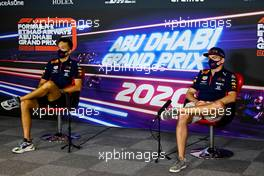 (L to R): Alexander Albon (THA) Red Bull Racing with team mate Max Verstappen (NLD) Red Bull Racing in the FIA Press Conference. 10.12.2020. Formula 1 World Championship, Rd 17, Abu Dhabi Grand Prix, Yas Marina Circuit, Abu Dhabi, Preparation Day.