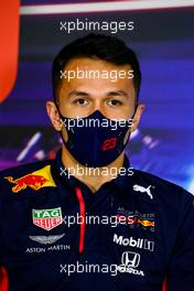 Alexander Albon (THA) Red Bull Racing in the FIA Press Conference. 10.12.2020. Formula 1 World Championship, Rd 17, Abu Dhabi Grand Prix, Yas Marina Circuit, Abu Dhabi, Preparation Day.