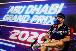 Max Verstappen (NLD) Red Bull Racing in the FIA Press Conference. 10.12.2020. Formula 1 World Championship, Rd 17, Abu Dhabi Grand Prix, Yas Marina Circuit, Abu Dhabi, Preparation Day.