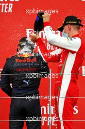 Second placed Mick Schumacher (GER) PREMA Racing (Right) celebrates on the podium with race winner Yuki Tsunoda (JPN) Carlin.