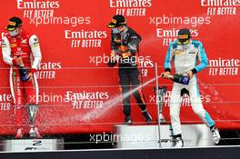The podium (L to R): Mick Schumacher (GER) PREMA Racing, second; Yuki Tsunoda (JPN) Carlin, race winner; Jack Aitken (GBR) Campos Racing, third.