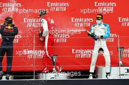 The podium (L to R): Yuki Tsunoda (JPN) Carlin, race winner; Mick Schumacher (GER) PREMA Racing, second; Jack Aitken (GBR) Campos Racing, third.