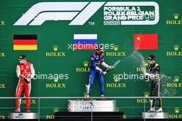 The podium (L to R): Mick Schumacher (GER) PREMA Racing, second; Robert Shwartzman (RUS) PREMA Racing, race winner; Guanyu Zhou (CHN) Uni-Virtuosi Racing, third.