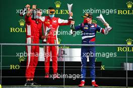 The podium (L to R): Mick Schumacher (GER) PREMA Racing, second; Robert Shwartzman (RUS) PREMA Racing, race winner.
