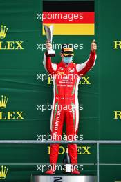 Mick Schumacher (GER) PREMA Racing celebrates his second position on the podium.
