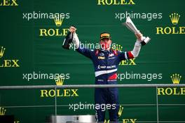 Race winner Robert Shwartzman (RUS) PREMA Racing celebrates on the podium.