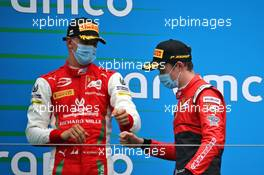 (L to R): Third placed Mick Schumacher (GER) PREMA Racing celebrates with second placed Callum Ilott (GBR) Uni-Virtuosi Racing on the podium.