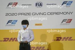 Yuki Tsunoda (JPN) Carlin celebrates receiving the 'Anthoine Hubert Award' for best rookie in the 2020 FIA Formula 2 Championship. 06.12.2020. FIA Formula 2 Championship Prize Giving Ceremony, Sakhir, Bahrain, Sunday.