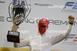 Mick Schumacher (GER) PREMA Racing celebrates winning the 2020 FIA Formula 2 Championship. 06.12.2020. FIA Formula 2 Championship Prize Giving Ceremony, Sakhir, Bahrain, Sunday.