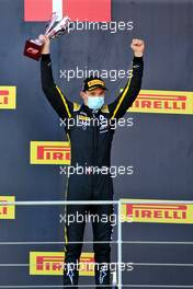 Race winner Christian Lundgaard (DEN) ART celebrates on the podium.