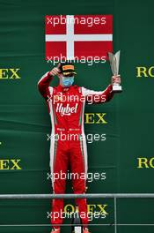 Frederik Vesti (DEN) PREMA Racing celebrates his second position on the podium. 30.08.2020. Formula 3 Championship, Rd 7, Spa-Francorchamps, Belgium, Sunday.