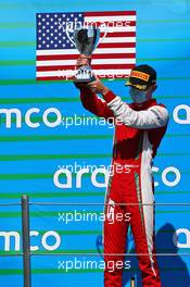 Logan Sargeant (USA) PREMA Racing celebrates his third position on the podium. 15.08.2020. FIA Formula 3 Championship, Rd 6, Barcelona, Spain, Saturday.