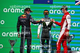 The podium (L to R): Liam Lawson (NZL) Hitech, second; Jake Hughes (GBR) HWA RACELAB, race winner; Logan Sargeant (USA) PREMA Racing, third. 15.08.2020. FIA Formula 3 Championship, Rd 6, Barcelona, Spain, Saturday.