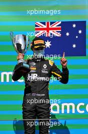 Race winner Oscar Piastri (AUS) PREMA Racing celebrates on the podium.