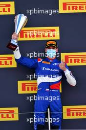 Race winner Alexander Smolyar (RUS) ART celebrates on the podium.         02.08.2020. FIA Formula 3 Championship, Rd 4, Silverstone, England, Sunday.