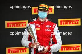 Liam Lawson (NZL) Hitech celebrates his third position on the podium. 01.08.2020. FIA Formula 3 Championship, Rd 4, Silverstone, England, Saturday.