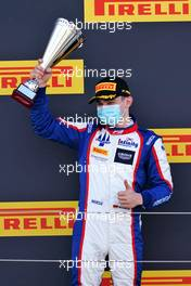 David Beckmann (GER) Trident celebrates his second position on the podium.                                02.08.2020. FIA Formula 3 Championship, Rd 4, Silverstone, England, Sunday.