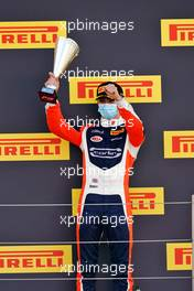 Clement Novalak (GBR) Carlin celebrates his third position on the podium. 02.08.2020. FIA Formula 3 Championship, Rd 4, Silverstone, England, Sunday.