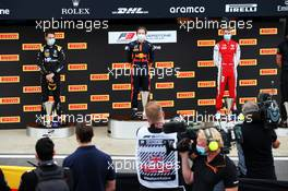 The podium (L to R): Oscar Piastri (AUS) PREMA Racing, second; Liam Lawson (NZL) Hitech, race winner; Logan Sargeant (USA) PREMA Racing, third. 01.08.2020. FIA Formula 3 Championship, Rd 4, Silverstone, England, Saturday.