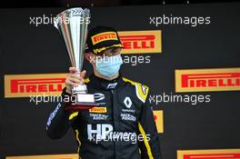 Oscar Piastri (AUS) PREMA Racing celebrates his second position on the podium. 01.08.2020. FIA Formula 3 Championship, Rd 4, Silverstone, England, Saturday.