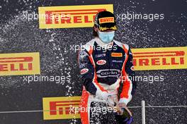 Clement Novalak (GBR) Carlin celebrates his third position on the podium.                 