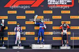 The podium (L to R): David Beckmann (GER) Trident, second; Alexander Smolyar (RUS) ART, race winner; Clement Novalak (GBR) Carlin, third. 02.08.2020. FIA Formula 3 Championship, Rd 4, Silverstone, England, Sunday.