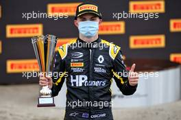 Oscar Piastri (AUS) PREMA Racing on the podium. 01.08.2020. FIA Formula 3 Championship, Rd 4, Silverstone, England, Saturday.