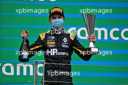 Oscar Piastri (AUS) PREMA Racing celebrates his second position on the podium.