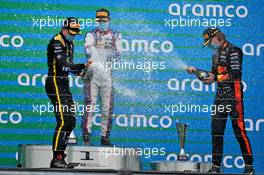 The podium (L to R): Oscar Piastri (AUS) PREMA Racing, second; David Beckmann (GER) Trident, race winner; Dennis Hauger (DEN) Hitech, third.