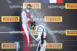 2nd place Jake Hughes (GBR) HWA RACELAB with 1st place Frederik Vesti (DEN) PREMA Racing and 3rd place Theo Pourchaire (FRA) ART. 12.09.2020. Formula 3 Championship, Rd 9, Mugello, Italy, Saturday.