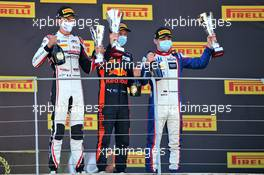 The podium (L to R): Theo Pourchaire (FRA) ART, third; Liam Lawson (NZL) Hitech, race winner; David Beckmann (GER) Trident, second. 13.09.2020. Formula 3 Championship, Rd 9, Mugello, Italy, Sunday.