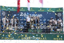 The podium (L to R): Bruno Senna (BRA), Norman Nato (FRA), Gustavo Menezes (USA) #01 Rebellion Racing, second; Kazuki Nakajima (JPN), Sebastien Buemi (SUI), Brendon Hartley (NZL) #08 Toyota Gazoo Racing, race winners; Jose Maria Lopez (ARG), Kamui Kobayashi (JPN), Mike Conway (GBR) #07 Toyota Gazoo Racing Toyota, third.