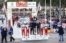 1st place Thierry Neuville (BEL)-Nicolas Gilsoul (BEL) Hyundai i20 Coupe WRC, HYUNDAI SHELL MOBIS WRT, 2nd place Sébastien Ogier (FRA)-Julien Ingrassia (FRA) TOYOTA Yaris WRC, TOYOTA GAZOO RACING WRT and 3rd place Elfyn Evans (GBR)- Scott MARTIN (GBR) TOYOTA Yaris WRC, TOYOTA GAZOO RACING WRT 23-26.01.2020. FIA World Rally Championship, Rd 1, Rally Monte Carlo, Monaco, Monte-Carlo.