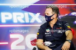 Christian Horner (GBR) Red Bull Racing Team Principal in the FIA Press Conference. 26.03.2021. Formula 1 World Championship, Rd 1, Bahrain Grand Prix, Sakhir, Bahrain, Practice Day