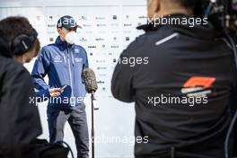 George Russell (GBR) Williams Racing with the media. 16.04.2021. Formula 1 World Championship, Rd 2, Emilia Romagna Grand Prix, Imola, Italy, Practice Day.