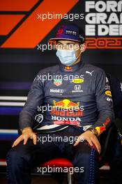 Max Verstappen (NLD) Red Bull Racing in the post race FIA Press Conference. 18.04.2021. Formula 1 World Championship, Rd 2, Emilia Romagna Grand Prix, Imola, Italy, Race Day.