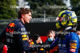 (L to R): Race winner Max Verstappen (NLD) Red Bull Racing celebrates with third placed Lando Norris (GBR) McLaren in parc ferme. 18.04.2021. Formula 1 World Championship, Rd 2, Emilia Romagna Grand Prix, Imola, Italy, Race Day.
