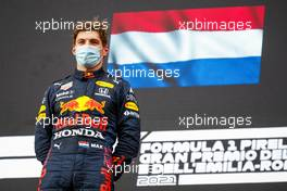 Race winner Max Verstappen (NLD) Red Bull Racing on the podium. 18.04.2021. Formula 1 World Championship, Rd 2, Emilia Romagna Grand Prix, Imola, Italy, Race Day.
