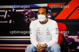 Lewis Hamilton (GBR) Mercedes AMG F1 in the post race FIA Press Conference. 18.04.2021. Formula 1 World Championship, Rd 2, Emilia Romagna Grand Prix, Imola, Italy, Race Day.