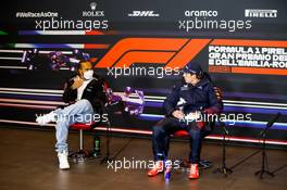 (L to R): Lewis Hamilton (GBR) Mercedes AMG F1 and Max Verstappen (NLD) Red Bull Racing in the post race FIA Press Conference. 18.04.2021. Formula 1 World Championship, Rd 2, Emilia Romagna Grand Prix, Imola, Italy, Race Day.