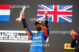Lando Norris (GBR) McLaren celebrates his third position on the podium. 18.04.2021. Formula 1 World Championship, Rd 2, Emilia Romagna Grand Prix, Imola, Italy, Race Day.