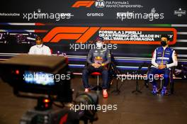 (L to R): Lewis Hamilton (GBR) Mercedes AMG F1; Max Verstappen (NLD) Red Bull Racing; and Lando Norris (GBR) McLaren, in the post race FIA Press Conference. 18.04.2021. Formula 1 World Championship, Rd 2, Emilia Romagna Grand Prix, Imola, Italy, Race Day.